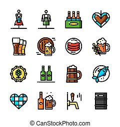 ligne mince, oktoberfest, icônes, vecteur, illustration
