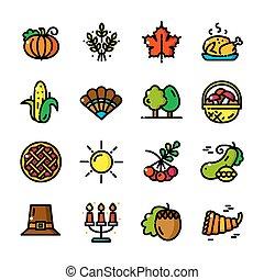 ligne mince, thanksgiving, icônes, vecteur, illustration