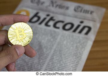 ligne, monnaie, bitcoin, nouveau