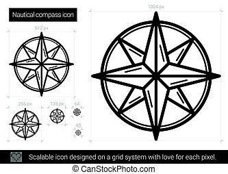 ligne, nautique, icon., compas