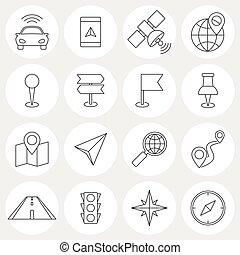 ligne, navigation, icônes