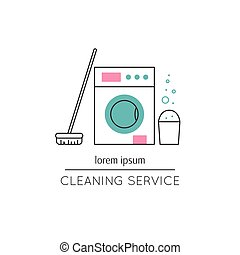 ligne, nettoyage, service, icône