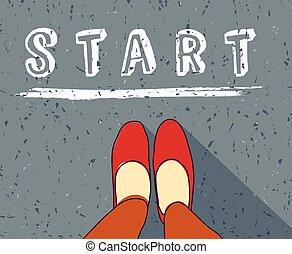 ligne, nouveau, commencer, début, vie, femme, manière, jeune