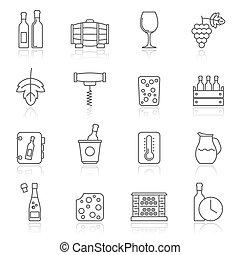 ligne, objets, industrie vin, icônes