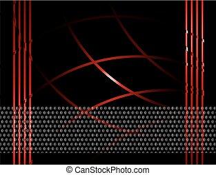 ligne, ondulé, arrière-plan rouge