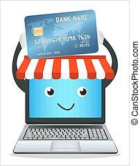 ligne, ordinateur portable, magasin
