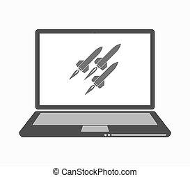 ligne, ordinateur portable, missiles, art, isolé