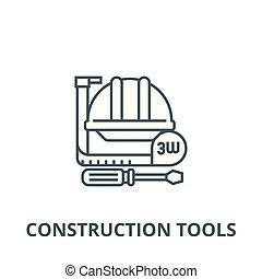 ligne, outils, symbole, construction, icône, signe, vector., contour, mètre, dur, illustration, concept, plat