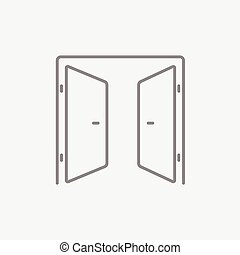 ligne, ouvert, icon., portes