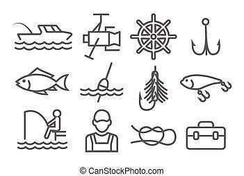 ligne pêche, icônes