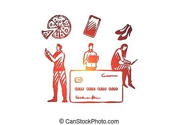 ligne, paiement, achats, illustration, main, dessiné, internet, isolé, concept., croquis, atelier carte