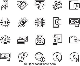 ligne, paiement, icônes