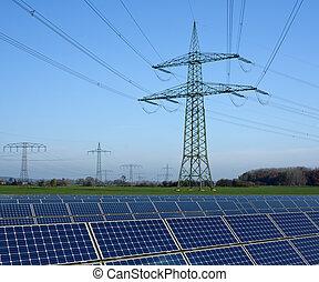 ligne, parc, énergie solaire