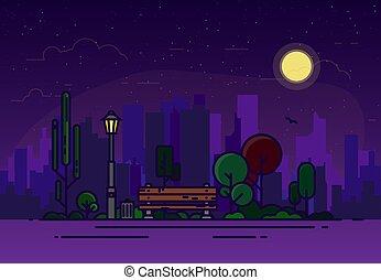 ligne, parc, illustration, nuit