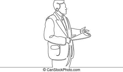 ligne, parole, avant, unique, dessiné, tribunal, jury., continu, avocat