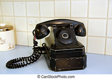 ligne parti, retro, téléphone