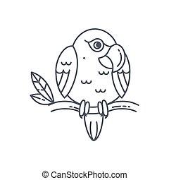 ligne, perroquet, icône