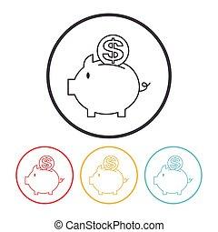 ligne, piggybank, financier, icône