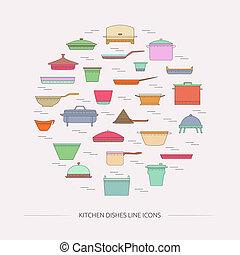 ligne, plats, icons., cuisine