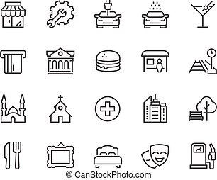 ligne, points, intérêt, icônes