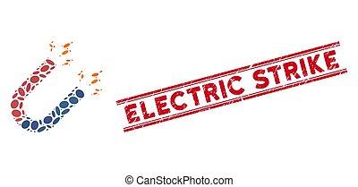 ligne pouvoir, grève, collage, aimant, cachet, grunge, électrique, icône