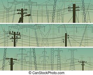 ligne pouvoir, silhouettes, horizontal, poles., bannières