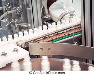 ligne production, bouteille plastique, convoyeur