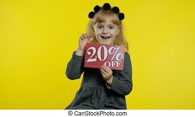 ligne, projection, girl, achats, fermé, inscription, escomptes, 20, enfant, signe, ventes, réjouir, cent