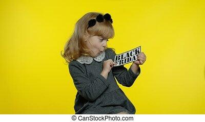 ligne, projection, girl, achats, inscription, texte, noir, vendredi, bas, enfant, prix, advertisement., bannière
