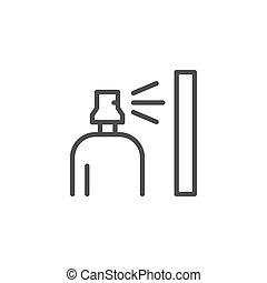 ligne, pulvérisation, icône, contour, essence, bouteille, boîte