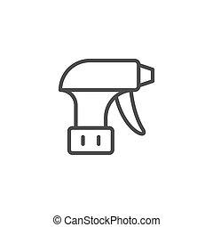 ligne, pulverizer, icône, contour, équipement