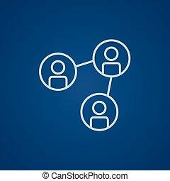 ligne, réseau, icon., social