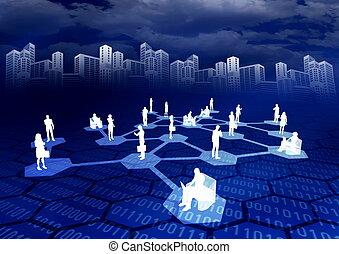 ligne, réseau, social