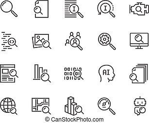 ligne, recherche, icônes