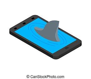 ligne, requin, téléphone., animal, nageoire, prédateur, smartphone., marin, internet, voir