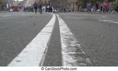 ligne route, double, marquer