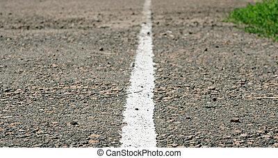 ligne route, vieux, blanc, asphalte
