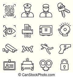 ligne, sécurité, sécurité, ensemble, icône