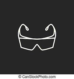 b0e6a76fe58f85 Blanc, lunettes, sécurité, icône. Bleu, isolé, illustration, vecteur ...