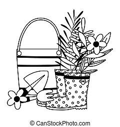 ligne, seau, icône, style, râteau, heureux, bottes, jardin, fleurs, pelle