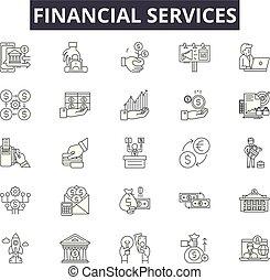 ligne, services financiers, mobile, signs., toile, contour, ...