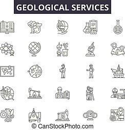 ligne, services, géologique, mobile, signs., toile, contour, coup, illustrations, editable, icônes, concept, design.
