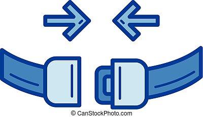 ligne, siège, icon., ceinture