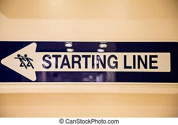 ligne, signe, commencer
