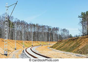 ligne., site, ferroviaire, construction, nouveau