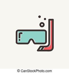 ligne, snorkel, masque, mince, icône