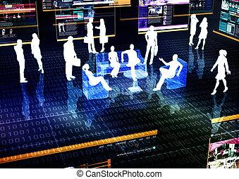ligne, social, gestion réseau