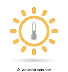 ligne, soleil, art, icône, isolé, thermomètre
