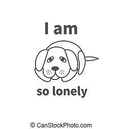 ligne, solitaire, triste, icône chien