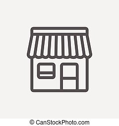 ligne, stalle, mince, magasin, icône